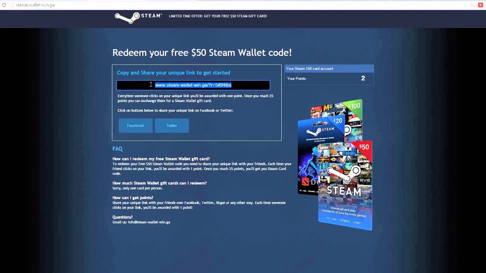 Steam Wallet Card 10 Global Activation Code