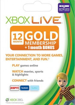 Xbox Live Gold 12 + 1 months BONUS game code with instant delivery.