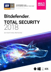 Bitdefender Total Security 2018 - 5 PC or Devices, 1 Year Electronic License