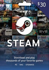 Steam Wallet Card 30 USD Global Activation Code